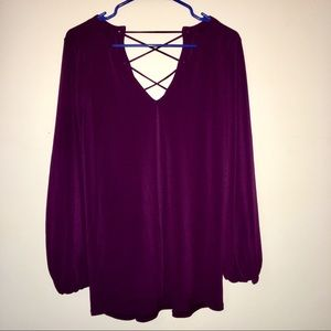 Plum tunic with open back